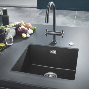 Grohe Keukenspoelbak Zwart Graniet Voor Onderbouw Of Opbouw Keukenspoelbakwinkel Be Keukenspoelbakken En Keukenkranen